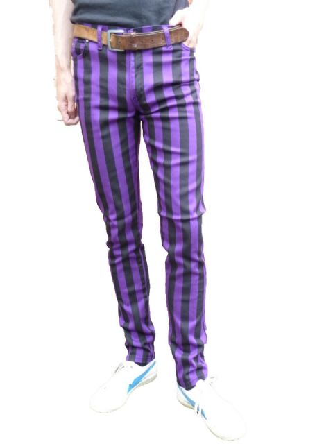 Ronnie - Drainpipes Skinny Pants Trousers - Purple & Black stripes